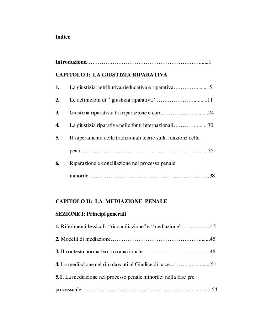 Indice della tesi: La mediazione nel processo penale minorile, Pagina 1