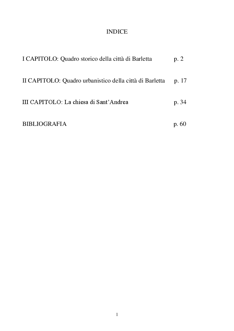 Indice della tesi: La chiesa di Sant'Andrea a Barletta, un viaggio tra storia arte e cultura, Pagina 1