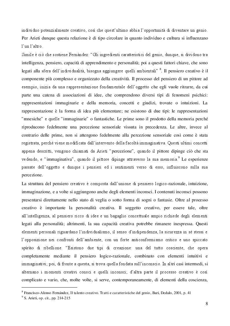 Estratto dalla tesi: Studi sul processo creativo secondo l'approccio psicoanalitico e l'approccio neuroestetico