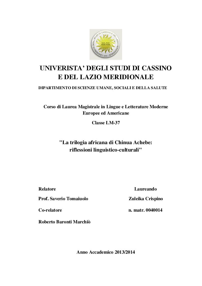 Anteprima della tesi: La trilogia africana di Chinua Achebe: riflessioni linguistico-culturali, Pagina 1