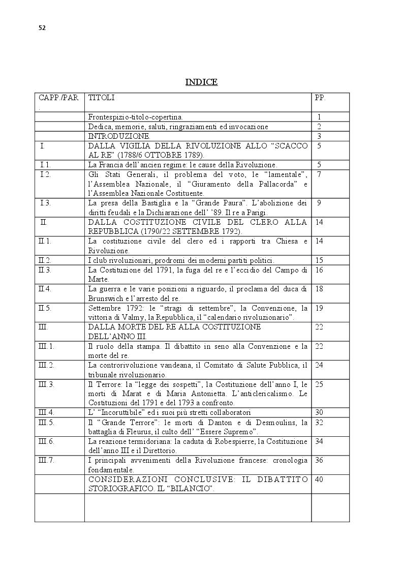 Indice della tesi: La Grande Nazione: modelli costituzionali nella Rivoluzione francese, Pagina 1