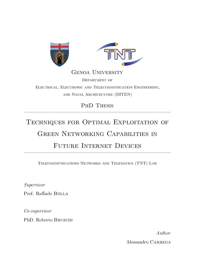 Anteprima della tesi: Techniques for Optimal Exploitation of Green Networking Capabilities in Future Internet Devices, Pagina 1
