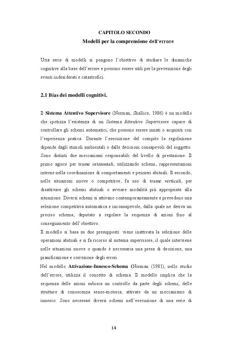 Estratto dalla tesi: Cultura dell'errore nelle organizzazioni. Case-study in ambito aeronautico civile