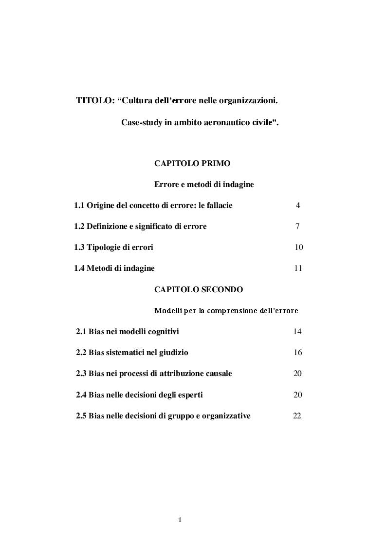 Indice della tesi: Cultura dell'errore nelle organizzazioni. Case-study in ambito aeronautico civile, Pagina 1