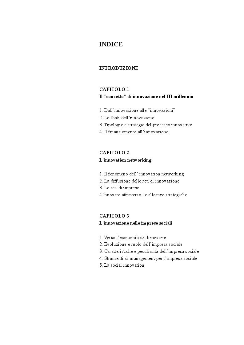 Indice della tesi: Impresa sociale tra innovazione e cooperazione: un'analisi esplorativa sulle reti innovazione nel Mezzogiorno, Pagina 1
