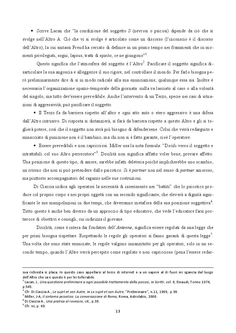 """Estratto dalla tesi: L'adolescente psicotico in Istituzione. Gli atelier e la pratique a plusieurs  in """"Antenna G. Beolchi"""""""