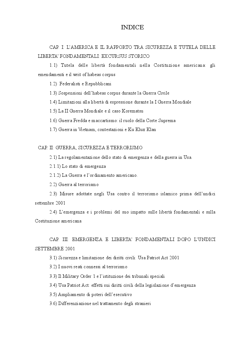 Indice della tesi: La garanzia dei diritti negli Stati Uniti dopo l'emergenza dell'undici settembre 2001, Pagina 1