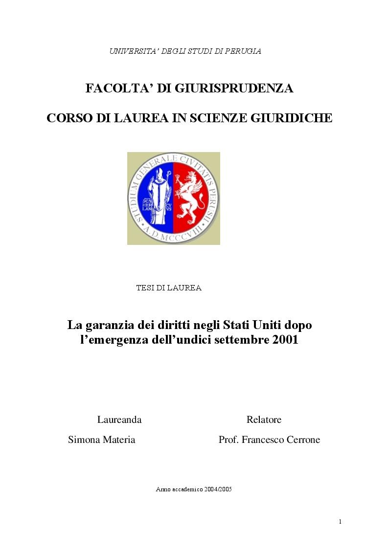 Anteprima della tesi: La garanzia dei diritti negli Stati Uniti dopo l'emergenza dell'undici settembre 2001, Pagina 1