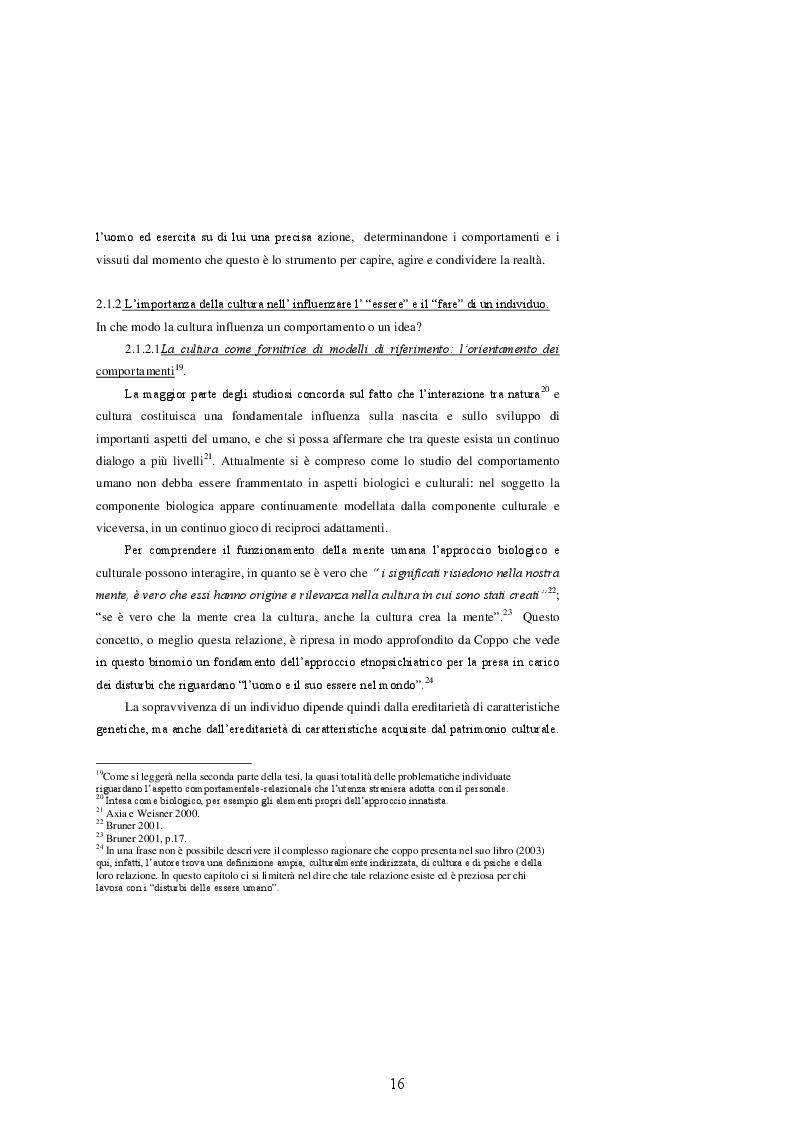 Estratto dalla tesi: Le diversità culturalmente determinate percepite dall'operatore sanitario nell'incontro con la paziente straniera - Ricerca in un contesto ostetrico
