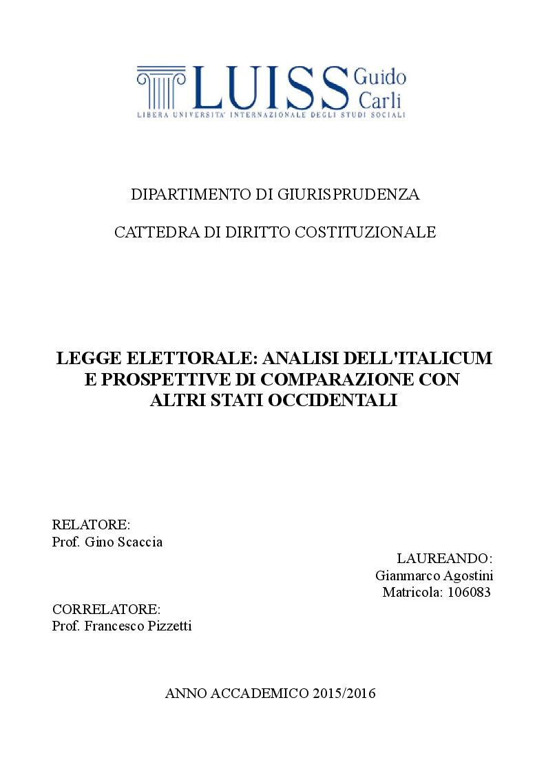 Anteprima della tesi: Legge elettorale: analisi dell'Italicum e prospettive di comparazione con altri stati occidentali, Pagina 1