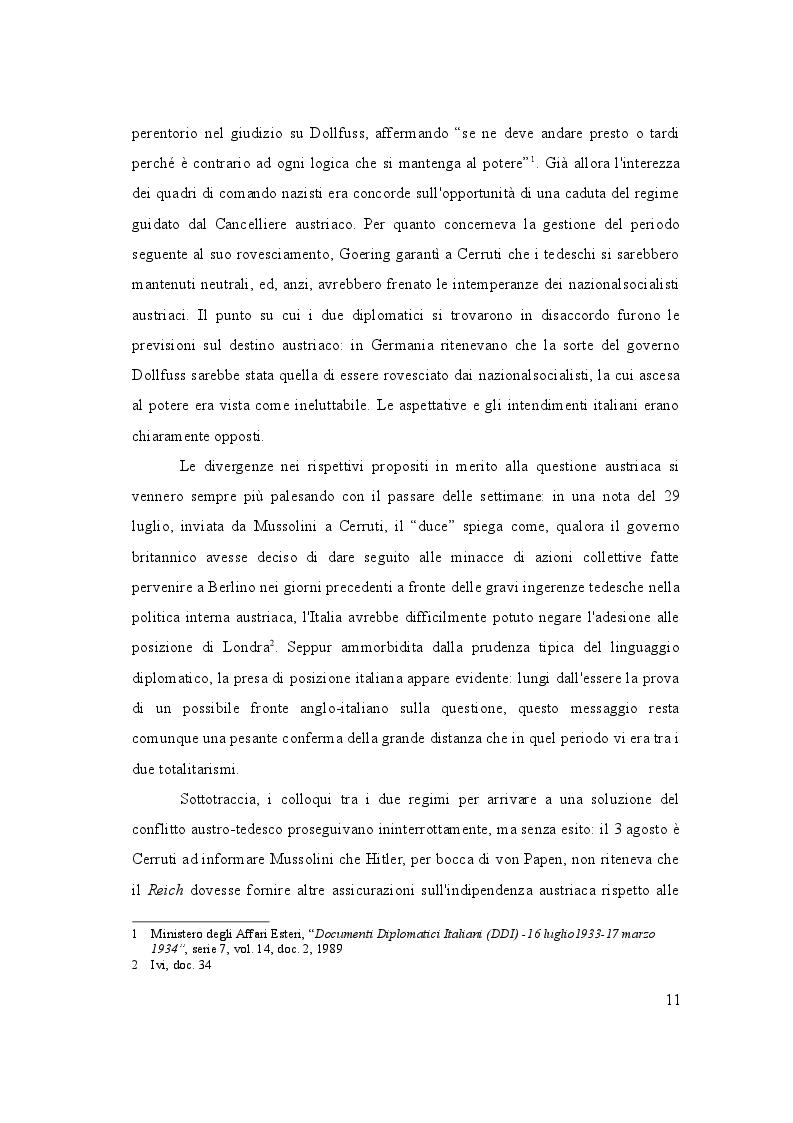 Estratto dalla tesi: L'Italia e il Putsch di Vienna - Luglio 1933/luglio 1934