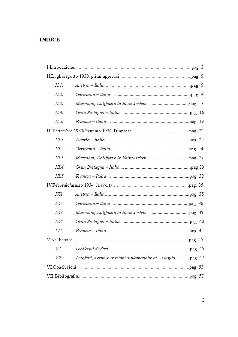 Indice della tesi: L'Italia e il Putsch di Vienna - Luglio 1933/luglio 1934, Pagina 1