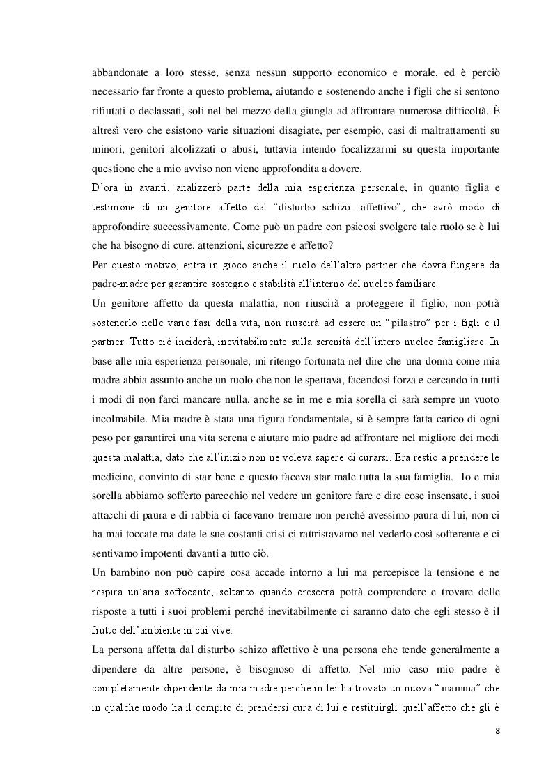 Estratto dalla tesi: Il Disturbo Schizo – Affettivo nel Genitore. Conseguenze sullo Sviluppo Individuale e Infantile.