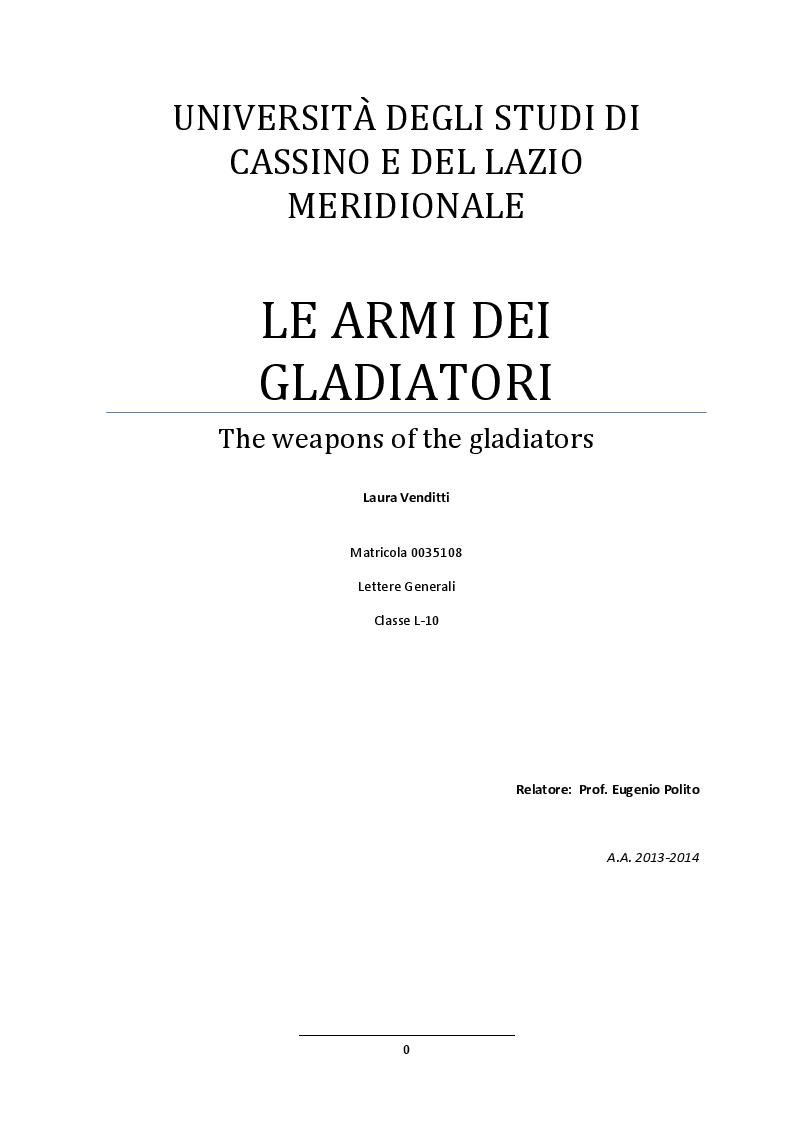 Anteprima della tesi: Le armi dei gladiatori, Pagina 1