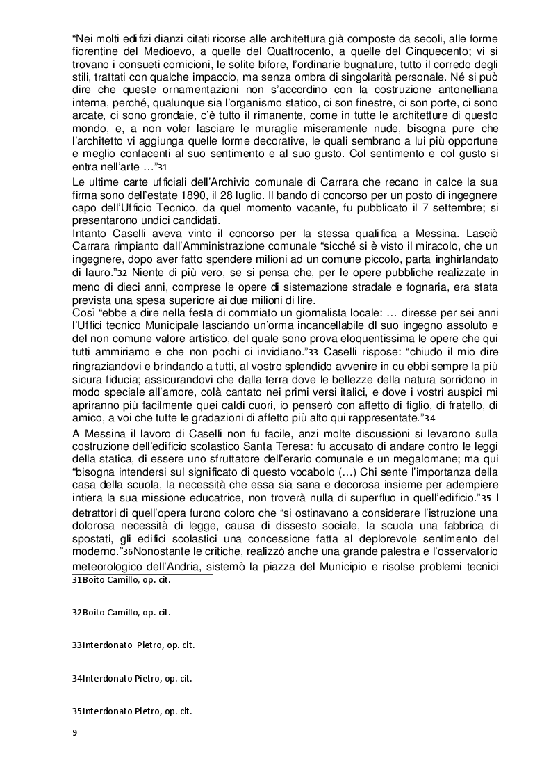 Estratto dalla tesi: Leandro Caselli a Carrara 1884-1890