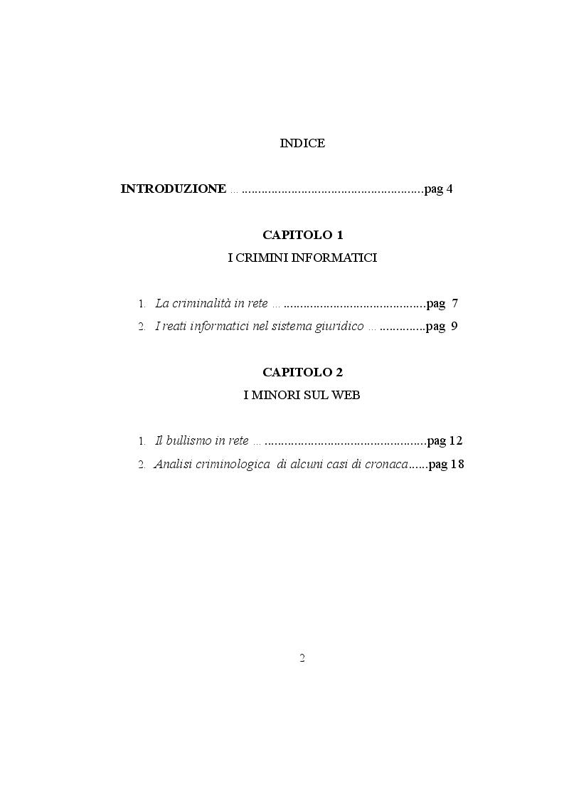 Indice della tesi: La criminalità 2.0, Pagina 1