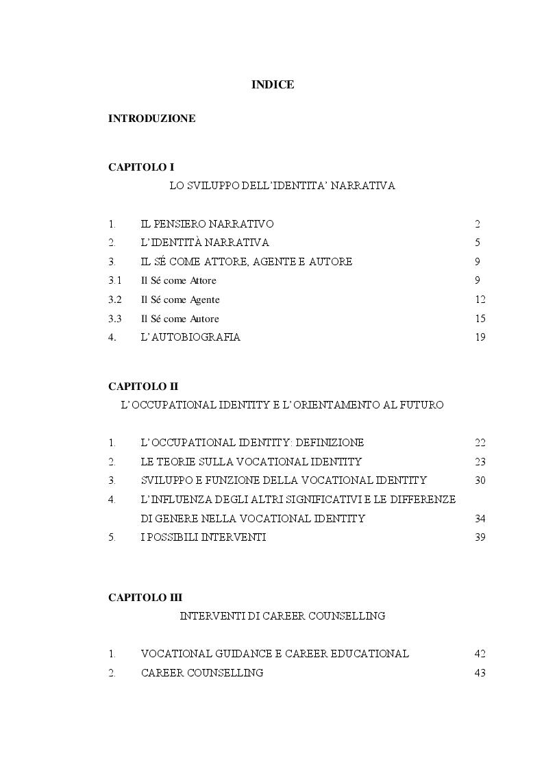 Indice della tesi: La Vocational Identity: un intervento di career counselling in due scuole napoletane, Pagina 1