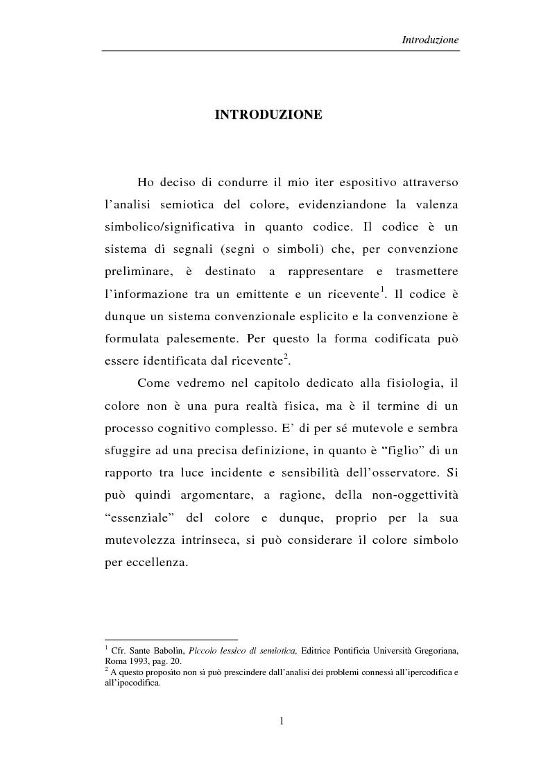 Anteprima della tesi: Il colore: dal simbolo alla campagna pubblicitaria, Pagina 1