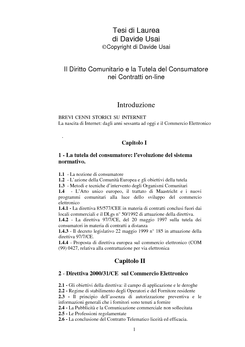 Indice della tesi: Il diritto comunitario e la tutela del consumatore nei contratti on-line, Pagina 1