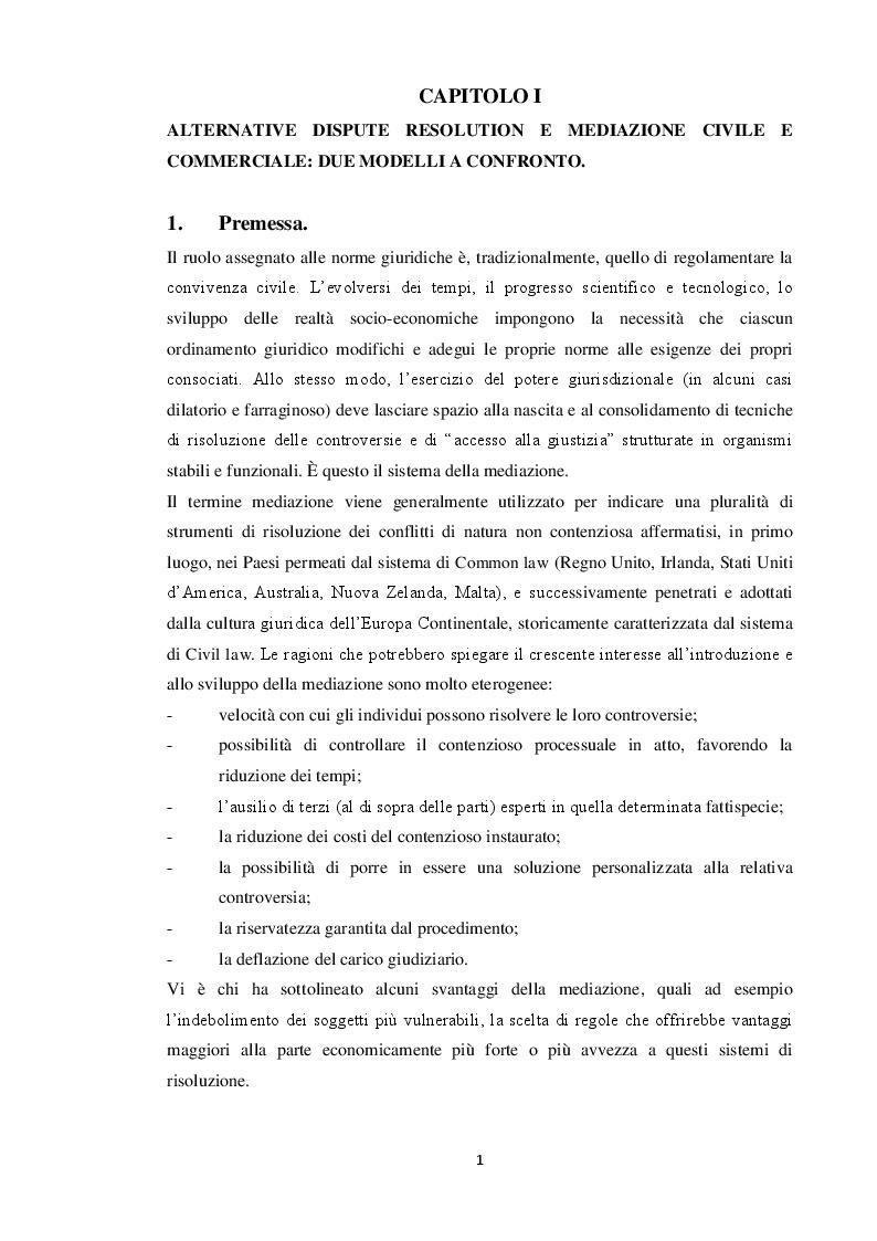 Estratto dalla tesi: Aspetti e limiti della mediazione obbligatoria in tema di responsabilità medica e sanitaria. Prospettive di riforma.