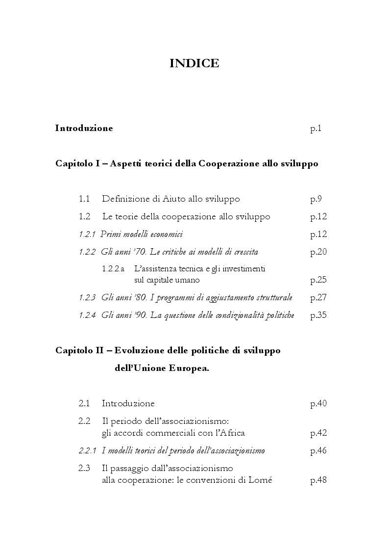 Indice della tesi: Evoluzione  e prospettive delle politiche  di cooperazione allo sviluppo dell'Unione Europea, Pagina 1