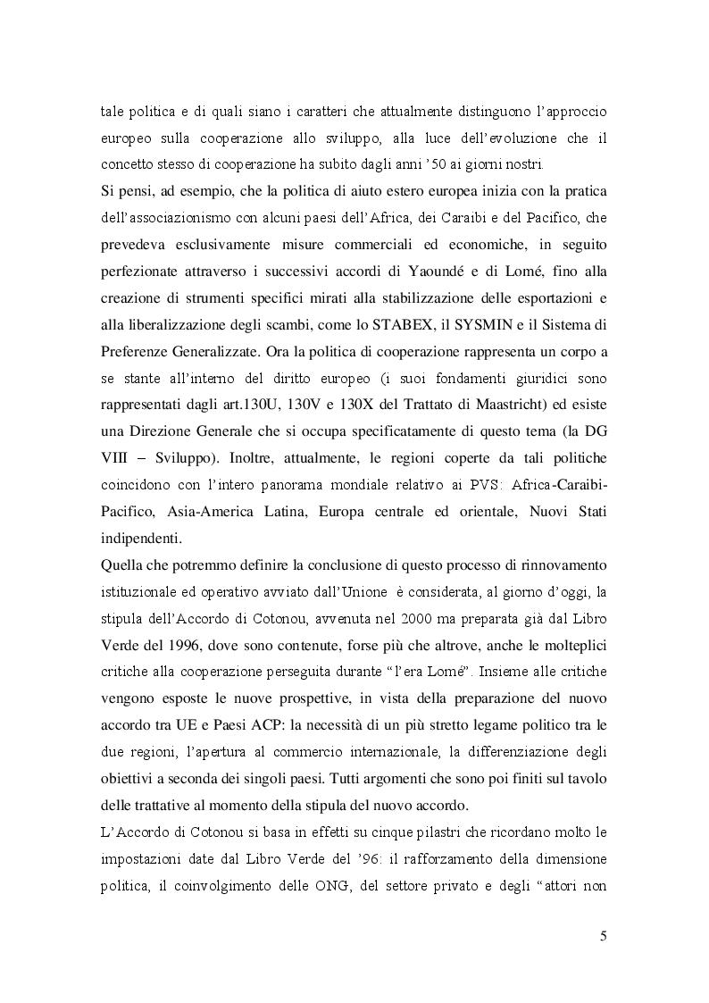 Anteprima della tesi: Evoluzione  e prospettive delle politiche  di cooperazione allo sviluppo dell'Unione Europea, Pagina 6