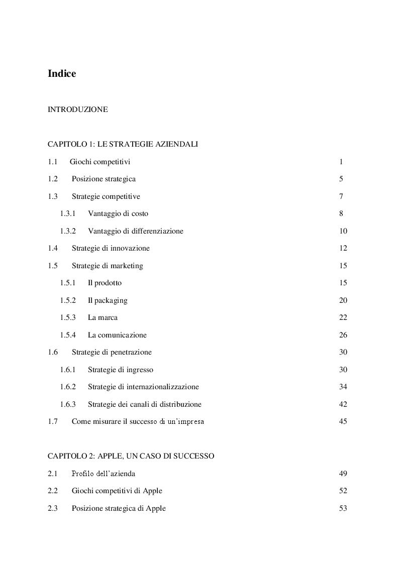Indice della tesi: Le strategie di successo, Pagina 1