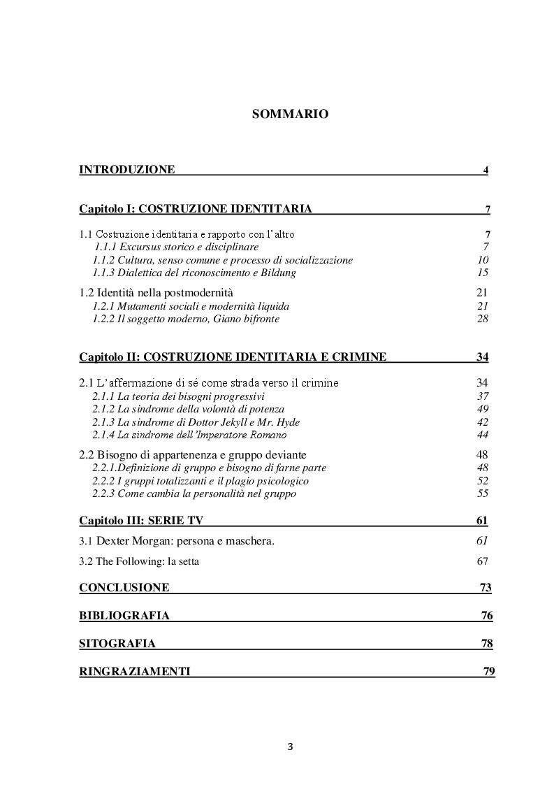 Indice della tesi: Costruzione Identitaria e Crimine. Può il Crimine Soddisfare il Bisogno di Unicità?, Pagina 1