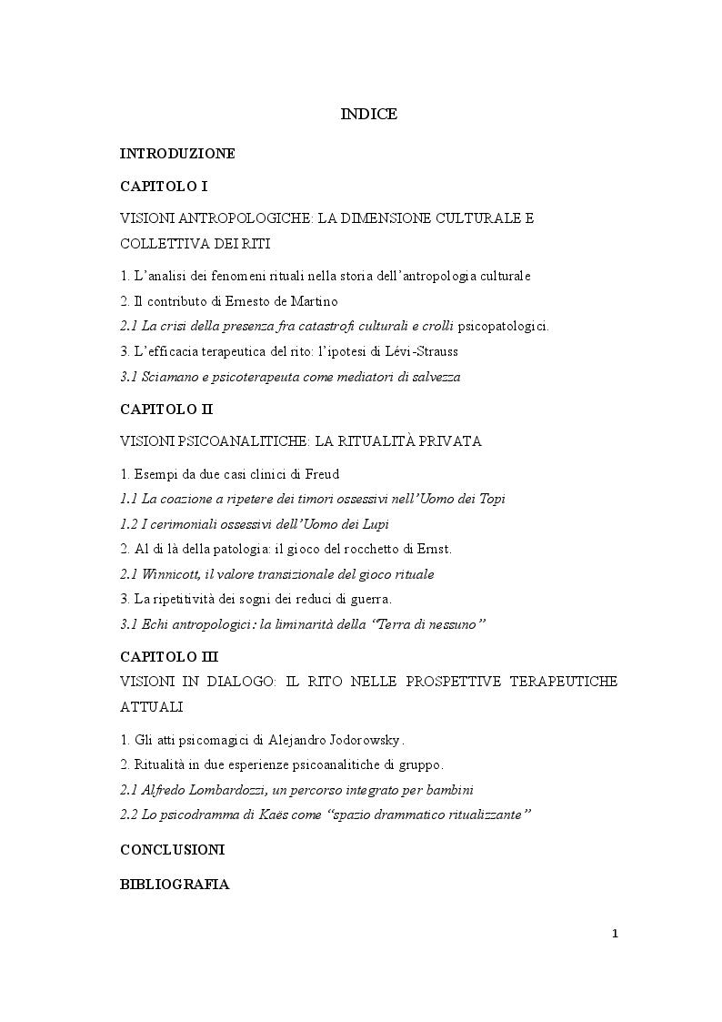 Indice della tesi: Orizzonti rituali tra antropologia e psicoanalisi, Pagina 1