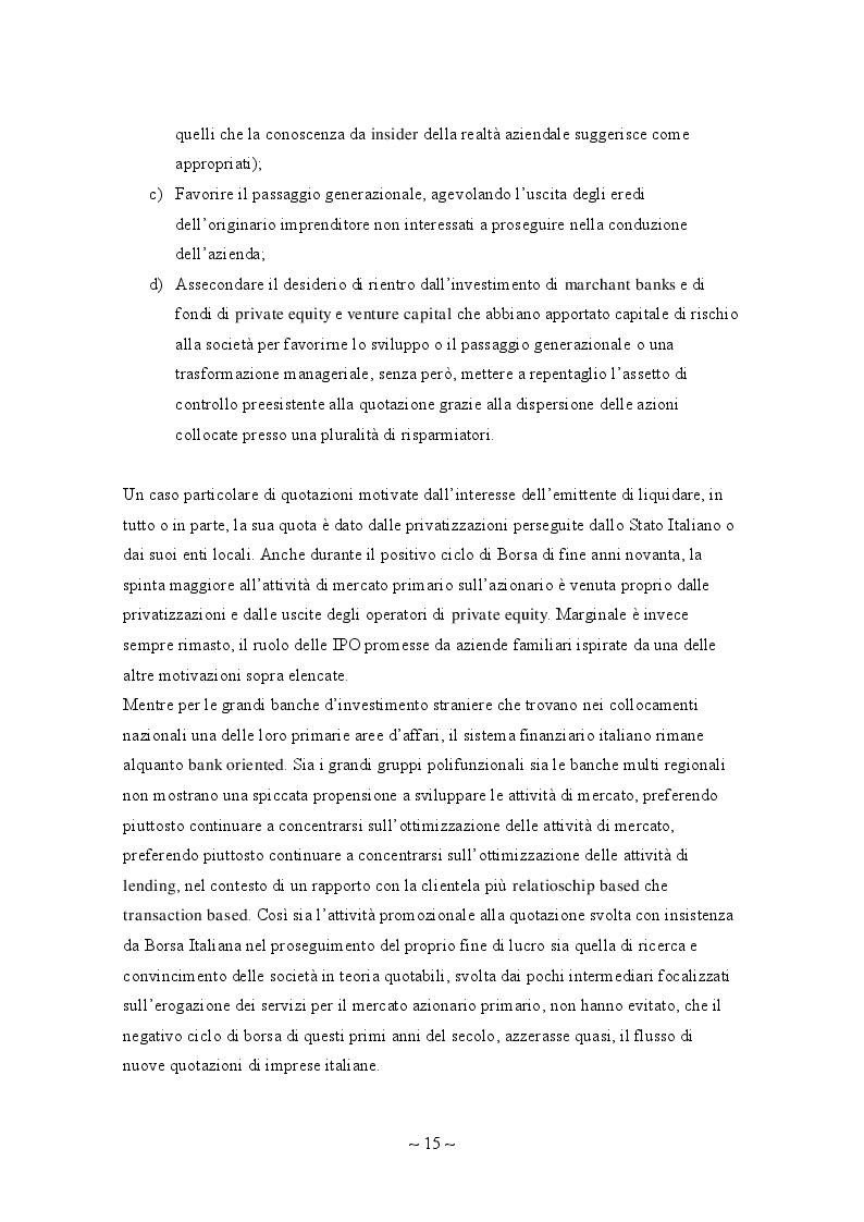 Estratto dalla tesi: Le IPO: analisi teoriche ed evidenze empiriche nel mercato italiano