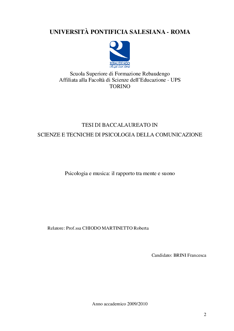 Anteprima della tesi: Psicologia e musica: il rapporto tra mente e suono, Pagina 1