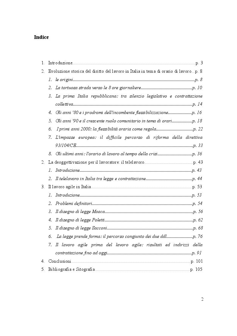 Indice della tesi: Orario di lavoro e diritti al tempo della deoggettivazione: quali prospettive dal lavoro agile?, Pagina 1