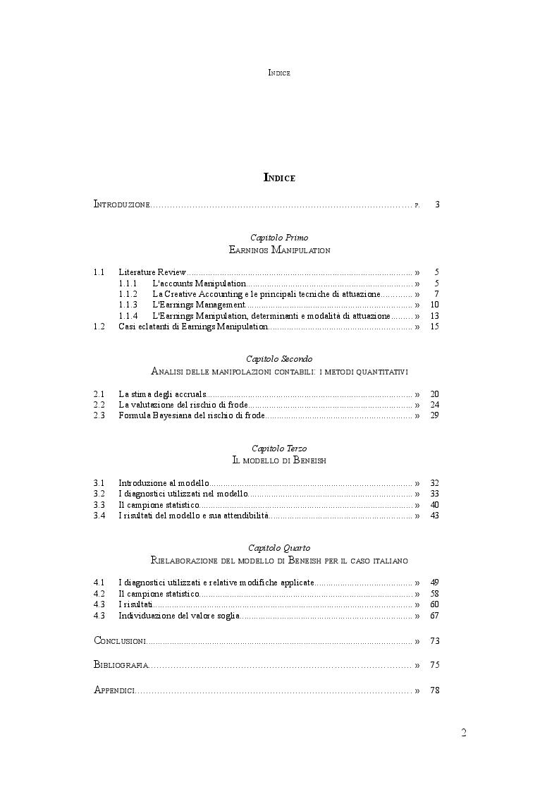 Indice della tesi: L'analisi della manipolazione dei conti aziendali: il Manipulation Score in Italia, Pagina 1