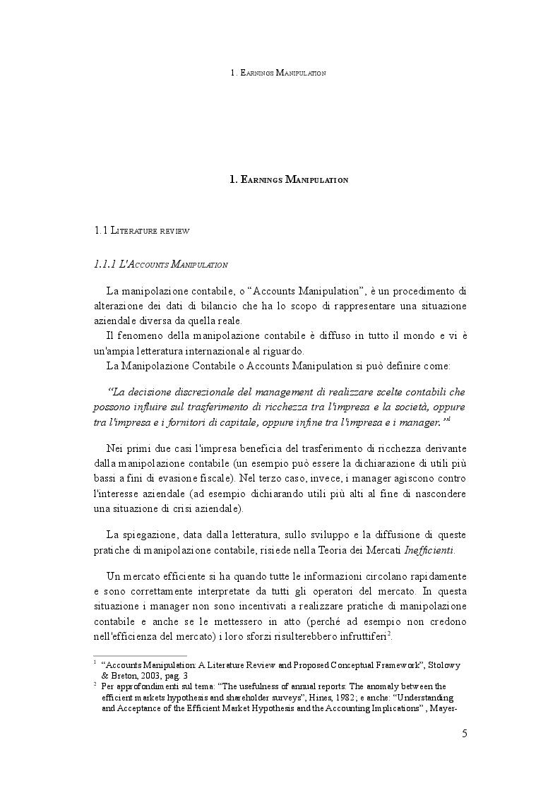 Anteprima della tesi: L'analisi della manipolazione dei conti aziendali: il Manipulation Score in Italia, Pagina 4