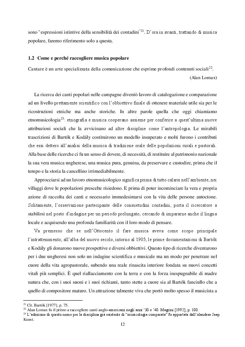Estratto dalla tesi: Nelle campagne ungheresi: lo studio sulla musica popolare di Béla Bartók e Zoltan Kodály