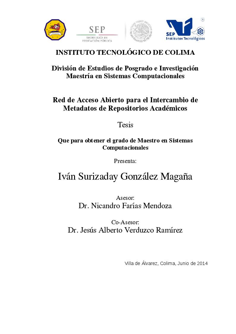 Anteprima della tesi: Red de Acceso Abierto para el Intercambio de Metadatos de Repositorios Académicos, Pagina 1