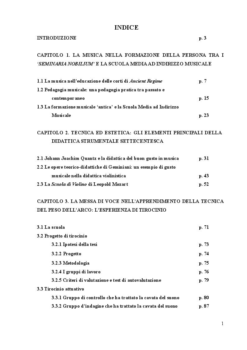 Indice della tesi: La didattica antica della musica: una risorsa per la formazione musicale contemporanea, Pagina 1