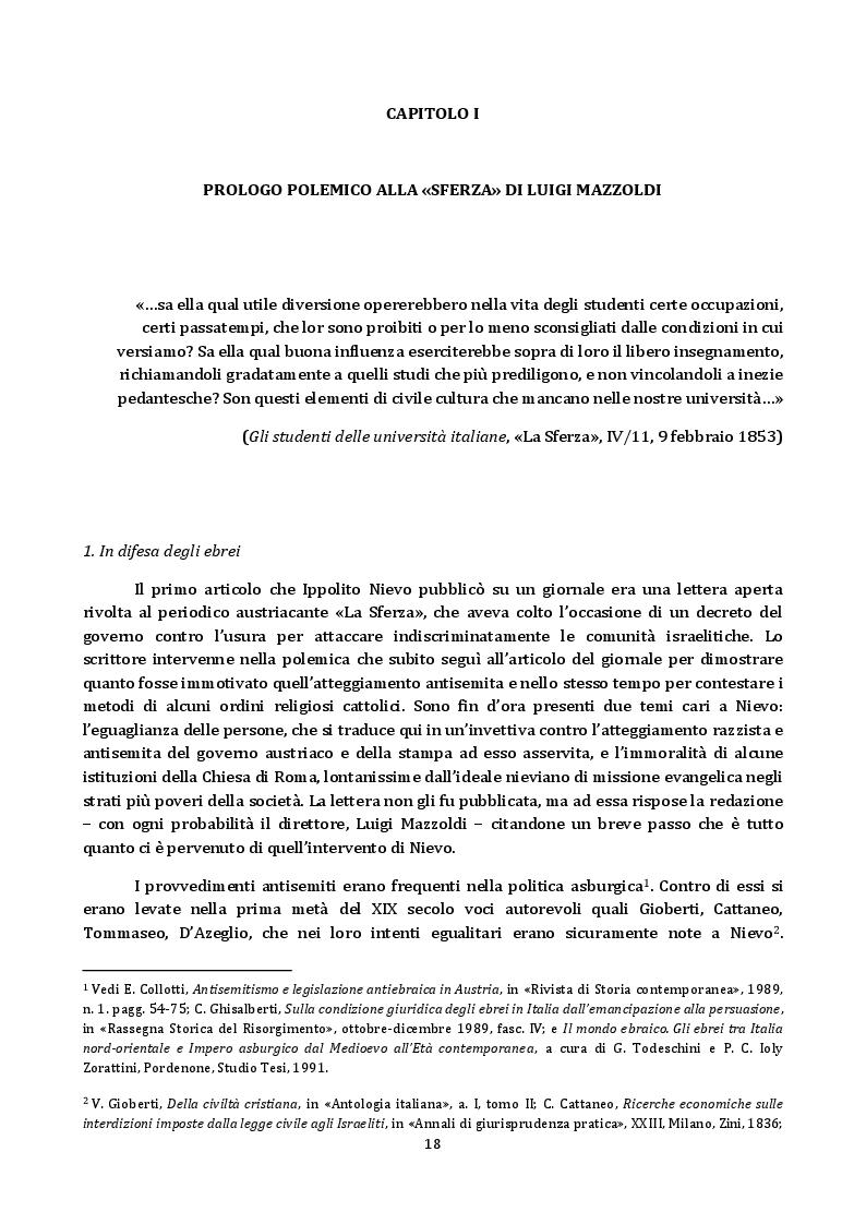 """Estratto dalla tesi: """"Fantasie in stile enigmatico"""": esperienze e idee del giornalista Ippolito Nievo (1852-1861)"""