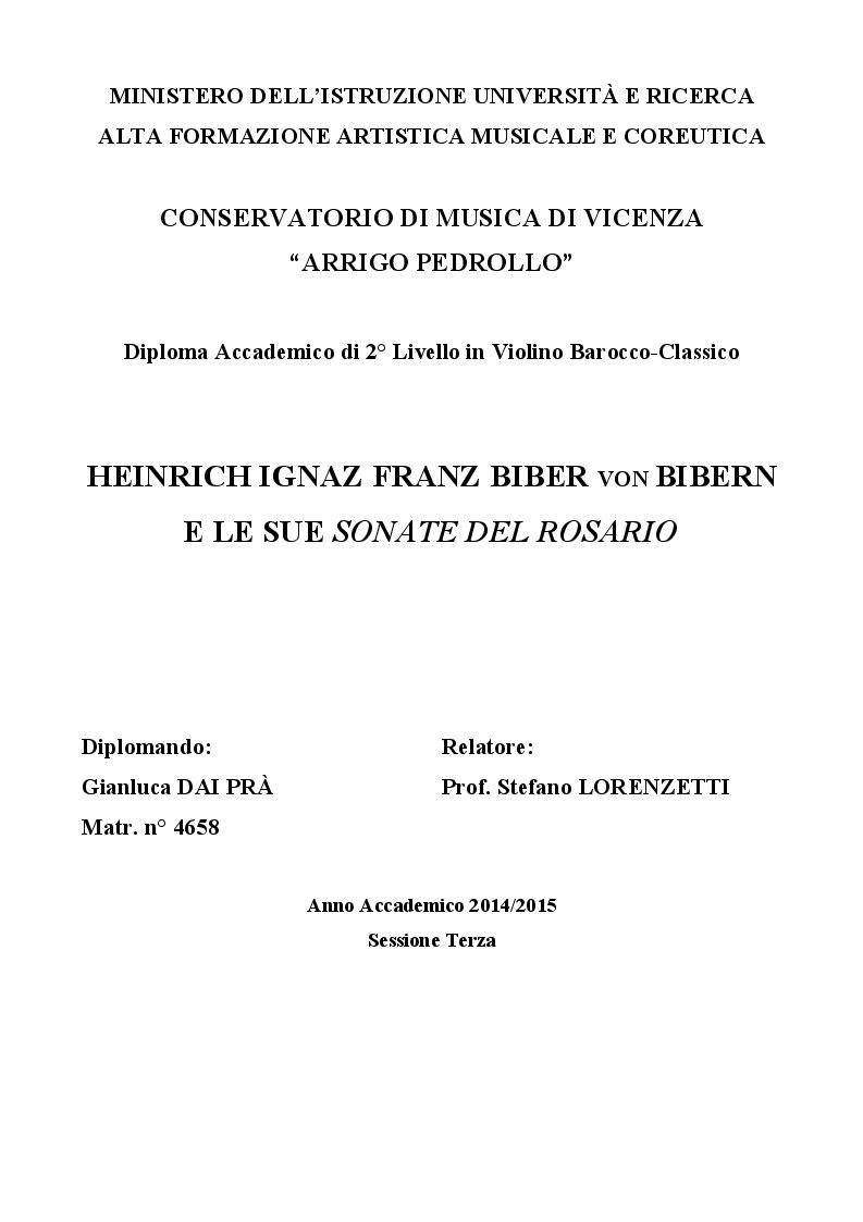 Anteprima della tesi: Heinrich Ignaz Franz Biber von Bibern e le sue Sonate del Rosario, Pagina 1