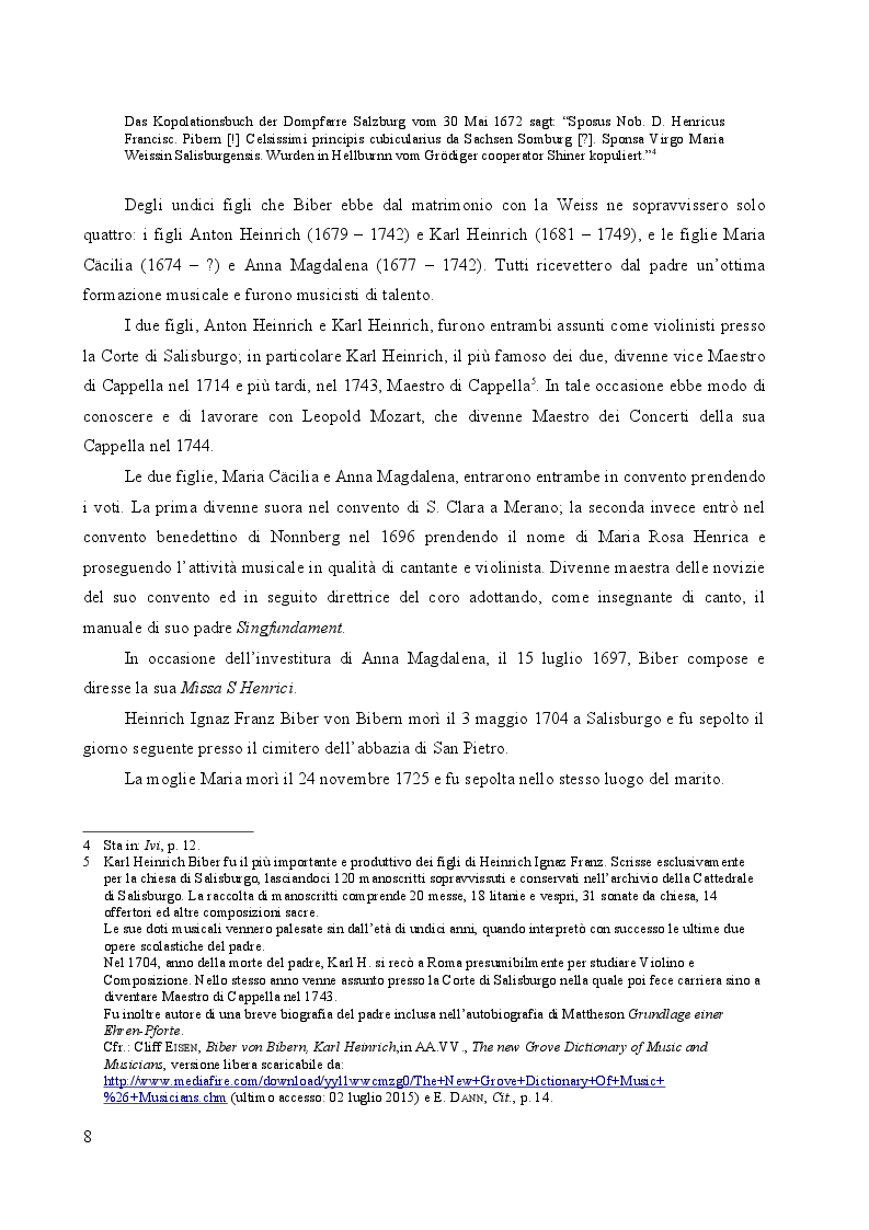 Anteprima della tesi: Heinrich Ignaz Franz Biber von Bibern e le sue Sonate del Rosario, Pagina 7