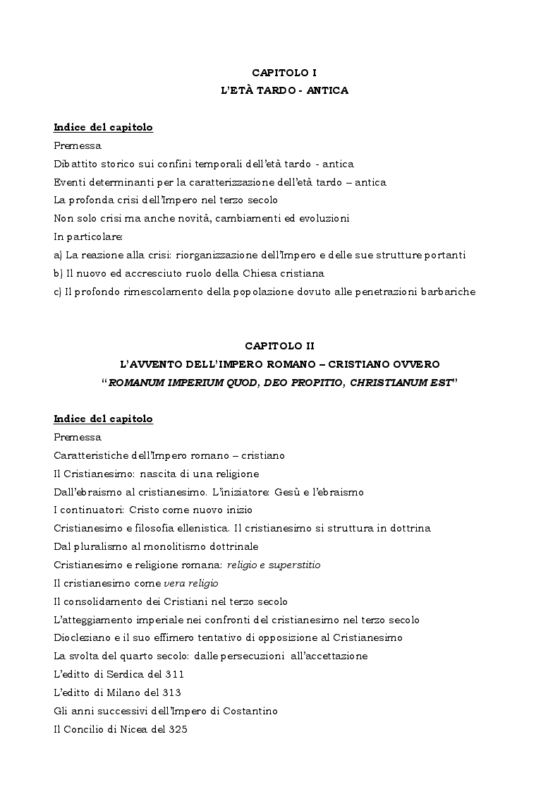 Indice della tesi: La legislazione penale contro la libertà religiosa nell'Impero romano - cristiano, Pagina 1
