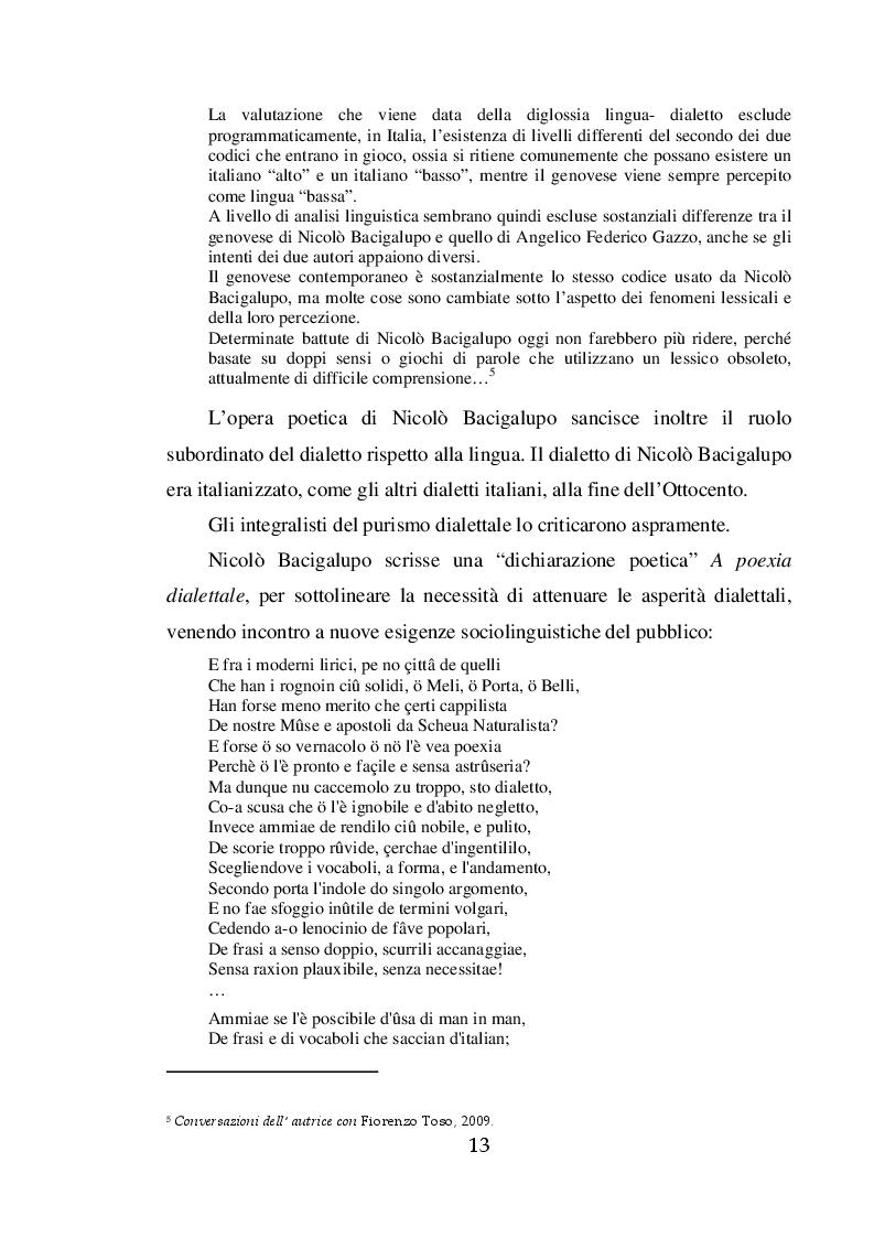 Estratto dalla tesi: La struttura del dialetto genovese nell'ambito del Teatro Ligure dell'otto/novecento: memorie e testimonianze