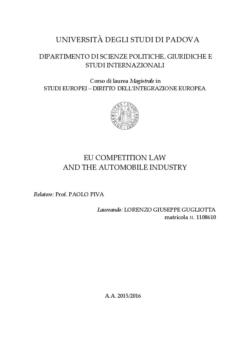 Anteprima della tesi: EU Competition Law and the Automobile Industry, Pagina 1