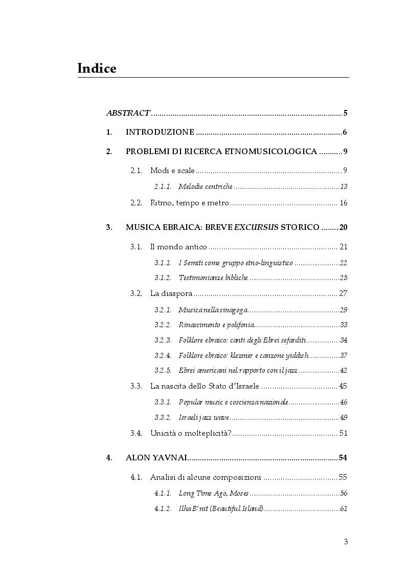 Indice della tesi: Il retaggio della tradizione ebraica nella musica di Alon Yavnai e Shai Maestro, Pagina 1