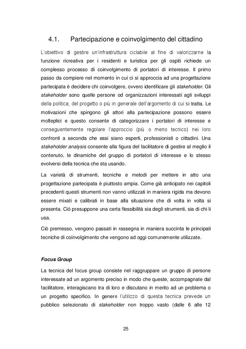 Estratto dalla tesi: La progettazione partecipata nella gestione del territorio: il caso della pista ciclabile Treviso-Ostiglia