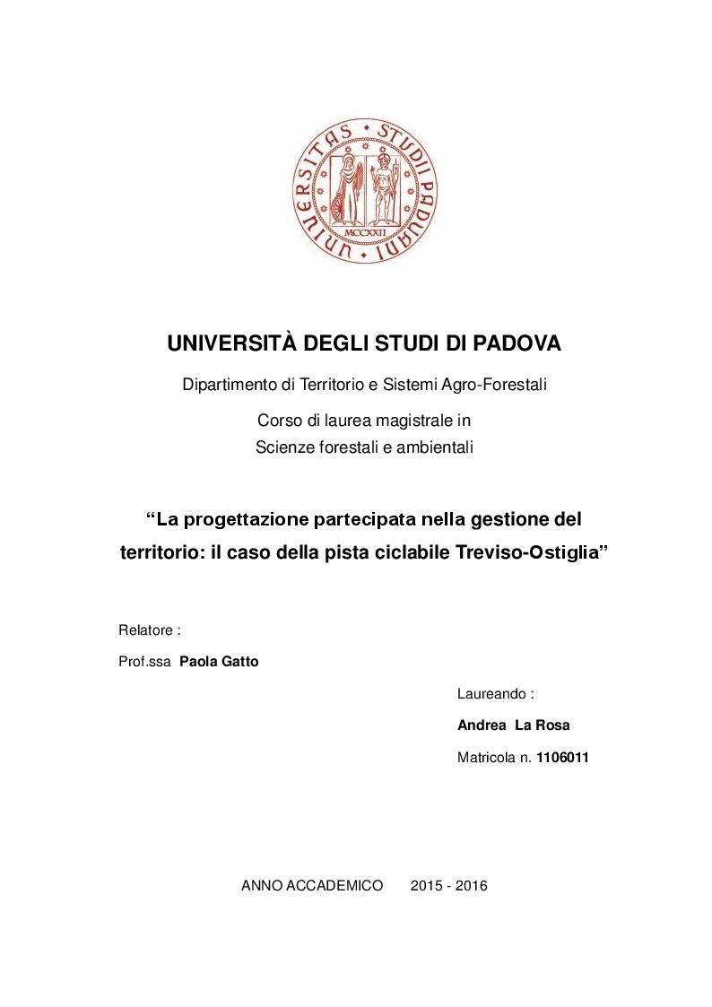 Anteprima della tesi: La progettazione partecipata nella gestione del territorio: il caso della pista ciclabile Treviso-Ostiglia, Pagina 1