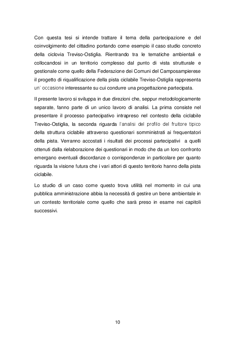 Anteprima della tesi: La progettazione partecipata nella gestione del territorio: il caso della pista ciclabile Treviso-Ostiglia, Pagina 3