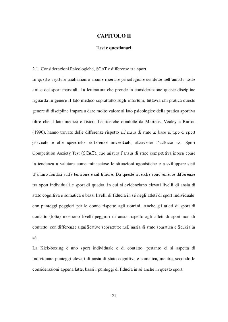 Estratto dalla tesi: Validazione del CBA-Sport 2.0 nella Kick-boxing