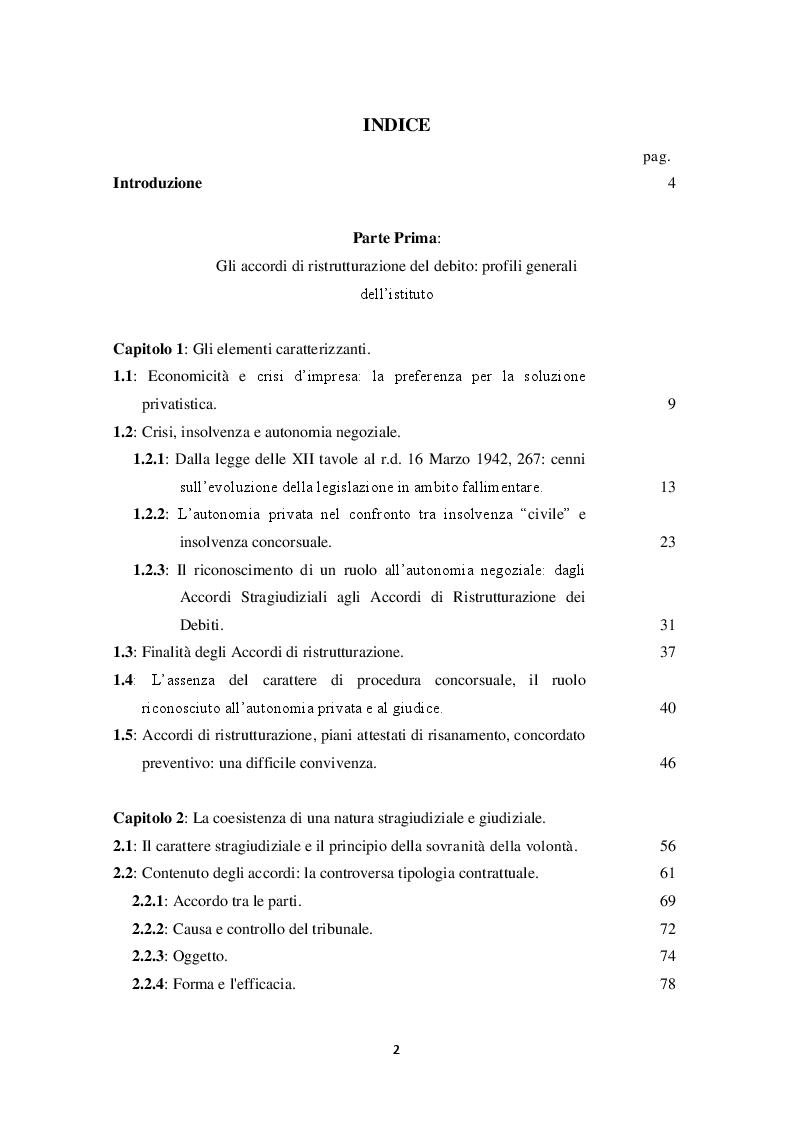 Indice della tesi: La terza via nella gestione delle crisi d'impresa: gli accordi di ristrutturazione dei debiti, Pagina 1