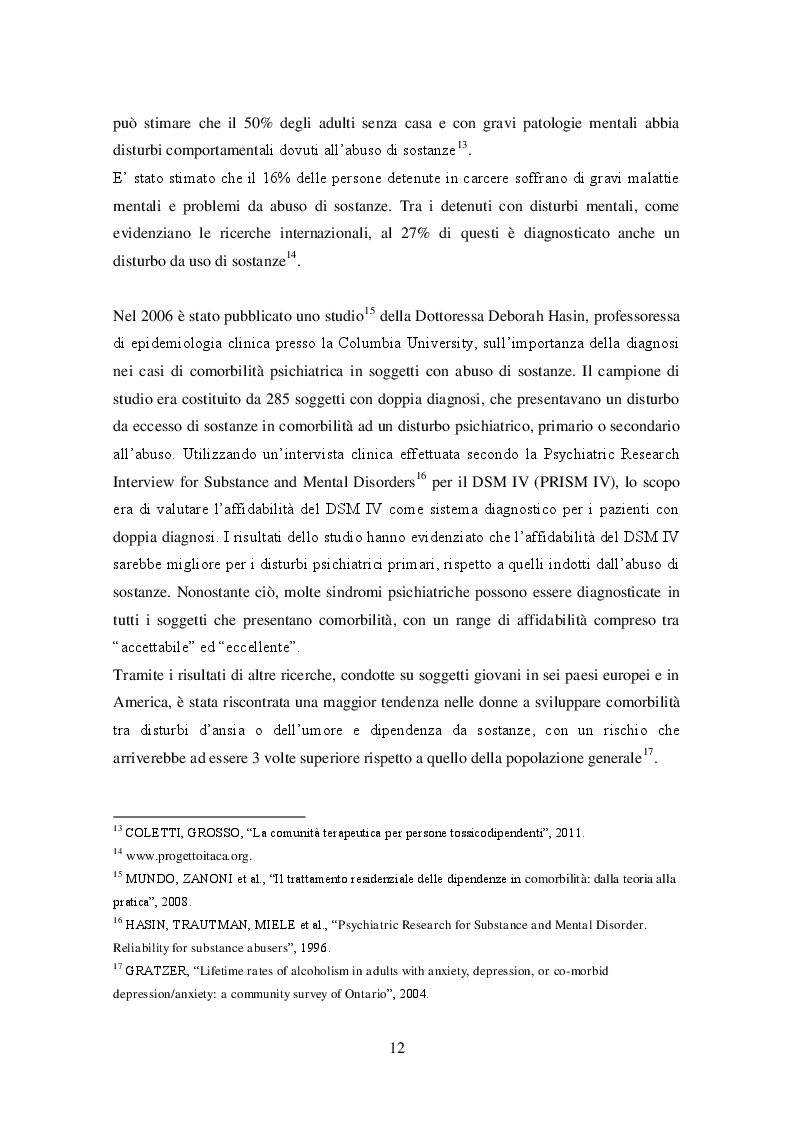 Estratto dalla tesi: Comorbilità psichiatria, disturbi di personalità e ruolo dell'educatore professionale